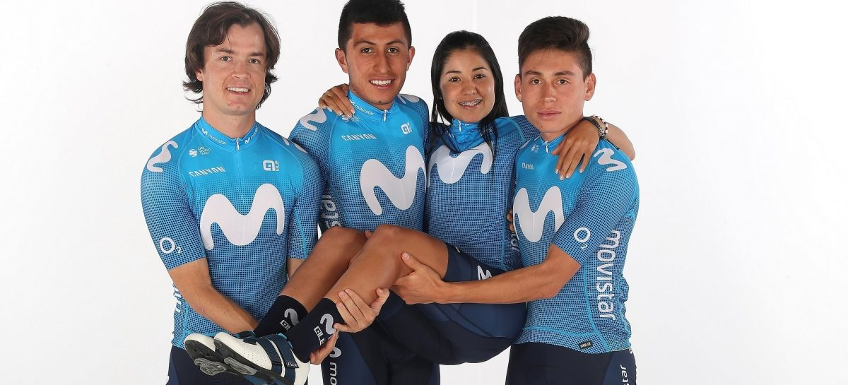 Paula Patiño ya luce la nueva indumentaria del Movistar Team