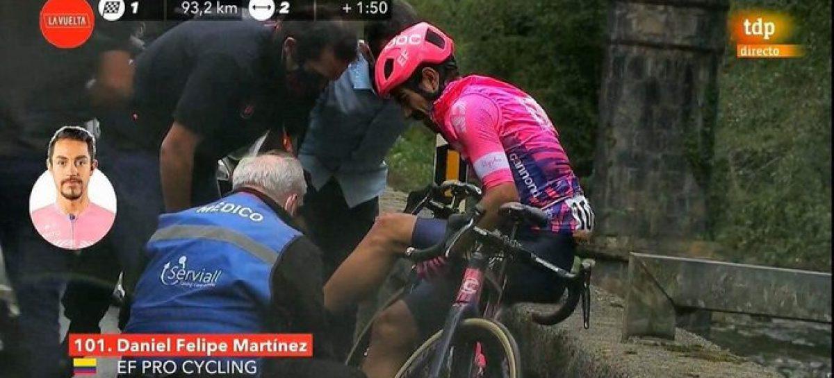 ¡Mala suerte! Daniel Felipe Martínez se cayó en el primer día de la Vuelta a España